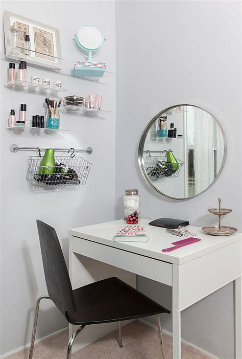 ikea micke as vanity desk in white room with large