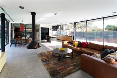 scored concrete floors living room with