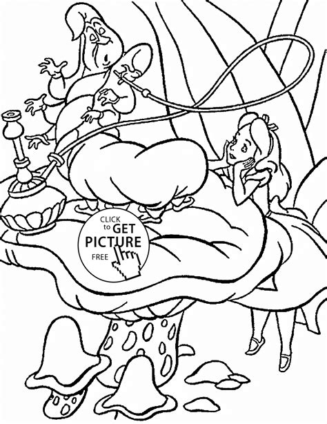 alice in wonderland coloring pages caterpillar for kids