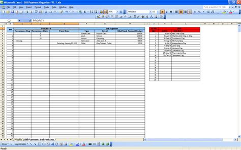 Bill Payment Calendar Excel Templates Bill Pay Spreadsheet Template