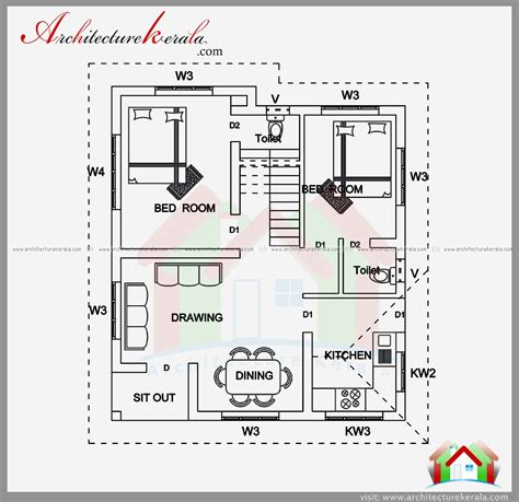 kerala style house floor plans bedroom house plan and elevation in 700 sqft architecture kerala arcitectrual on sq ft plot