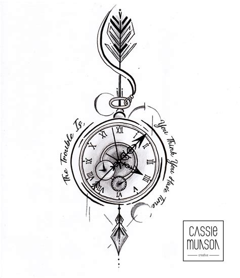 pocket watch tattoo commission by cassiemunson art on