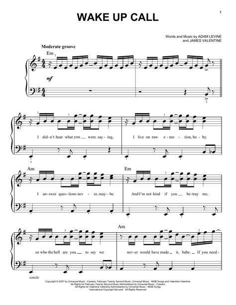 best wake up songs maroon 5 wake up call sheet music