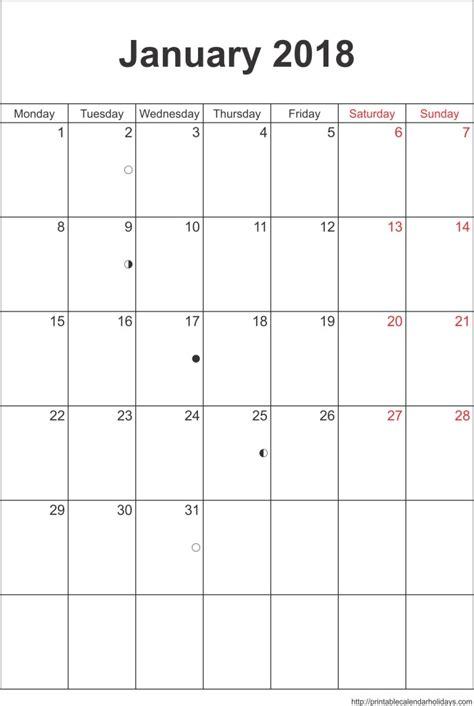 printable january 2018 calendar template january 2018 calendar template portrait printable 2017