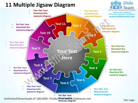 11 multiple jigsaw diagram powerpoint templates 0712
