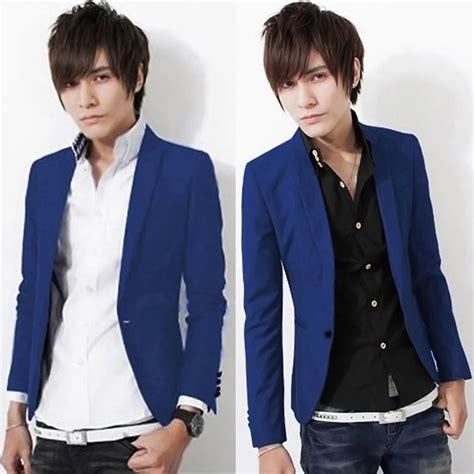 Blazer Navy Jas Pria Slimfit Korean Style Casual Pesta Kerja s casual slim fit one button suit blazer coat jacket tops m l xl xxxl ebay