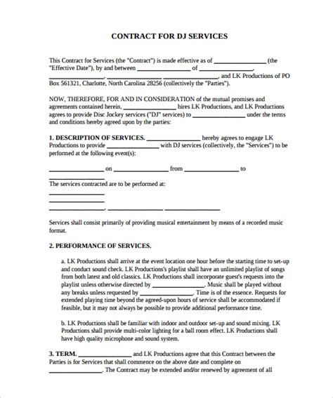 dj contracts templates dj contract 12 documents in pdf