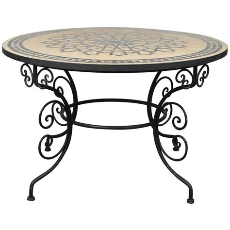 Tiled Dining Table Moroccan Outdoor Mosaic Tile Dining Table On Iron Base 47 In For Sale At 1stdibs