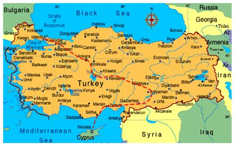 map of cyprus and turkey