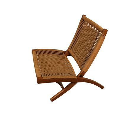 Mid Century Folding Chair by Mid Century Hans Wegner Style Woven Folding Chair