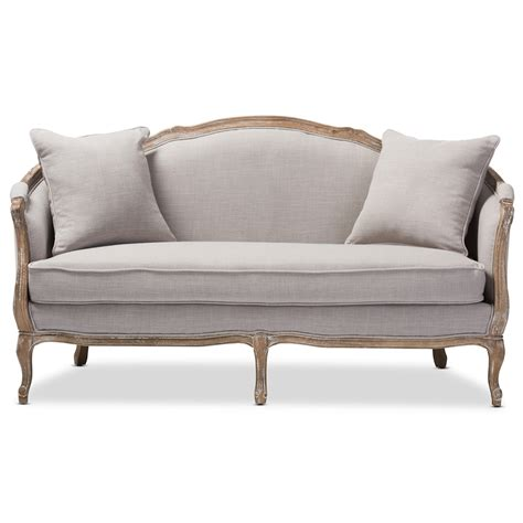 upholstered settee loveseat baxton studio corneille french country weathered oak beige