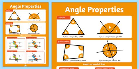 printable angles poster large angles properties poster angles around a point poster