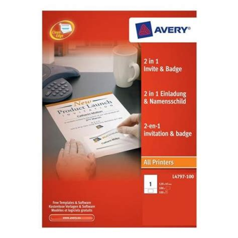 avery templates for invitations avery 2 in 1 invitation and name badge l4797 100 l4797 100