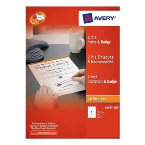 avery invitation templates avery 2 in 1 invitation and name badge l4797 100 l4797 100