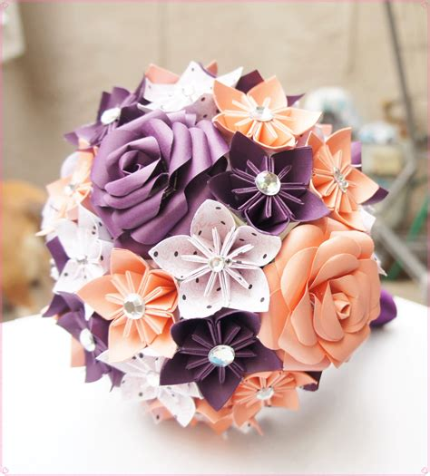 Paper Origami Flower Bouquet - custom wedding kusudama origami paper flower package