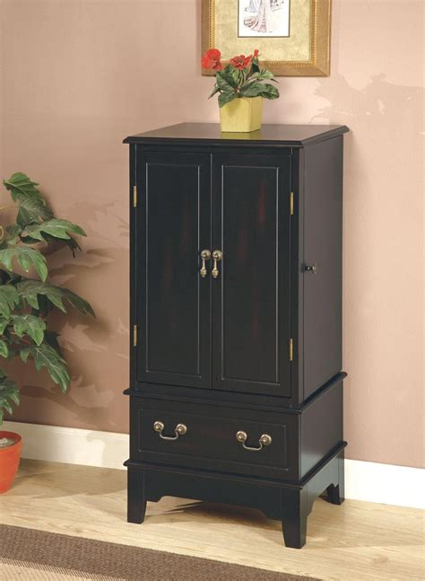 ebony jewelry armoire black jewelry armoire 900095 from coaster 900095