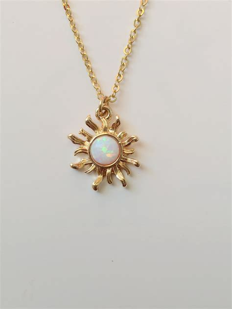 white opal necklace white opal sun necklace gold necklace opal necklace