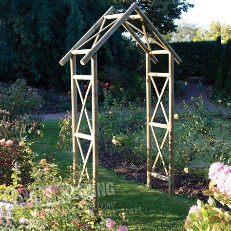 rustic wooden garden rose arch westmount living