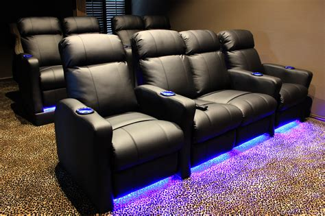 media room couches theater chairs with built in riser and led kit mccabe s theater and living