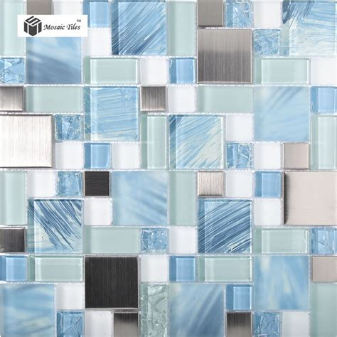 blue mosaic tile backsplash tst glass metal tile blue sky cloud white kitchen bath