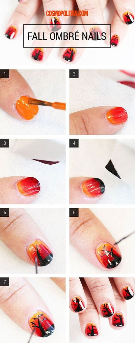 nail art leaf tutorial easy simple autumn nail art tutorials for beginners 2016