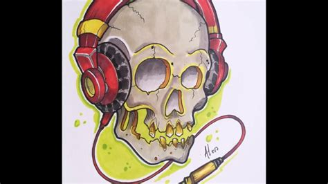 new school skull tattoo design new school skull dj design timelapse
