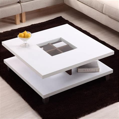 modern white coffee table with storage coffee table