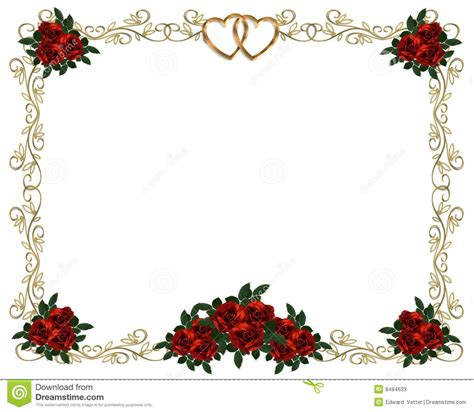 Wedding Border Photo by Roses Border Wedding Invitation Stock Photos Image