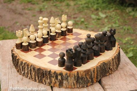custom chess sets buy a custom made rustic wood log chess set made to order