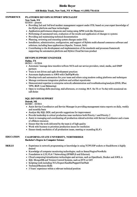 Devops Support Resume Sles Velvet Jobs Devops Resume Template