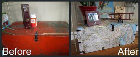 map covered foot locker trunk makeover foot locker
