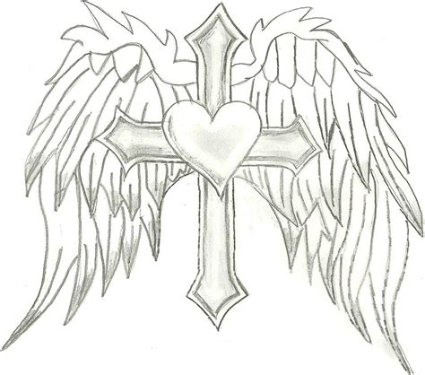 cross and angel wings tattoos wings coloring pages coloring pages of hearts with wings