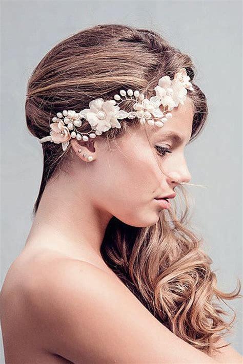 Diane Flower Headpiece rustic wedding flower crown wedding hair wreath boho bridal headpiece the rosalind blush