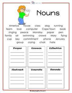 sorting nouns activity nouns abstract