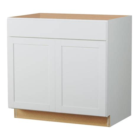 Lowes Kitchen Sink Cabinet Shop Now Arcadia 36 In W X 35 In H X 23 75 In D White Shaker Sink Base Cabinet At Lowes