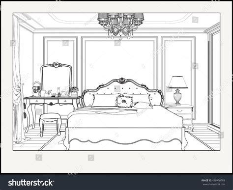 interior perspective of a bedroom linear drawing interior perspective nice bedroom stock