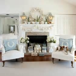 White and pale blue living room with holiday touches of white toned