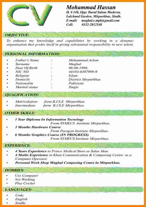 curriculum vitae sample format