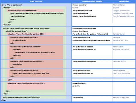 creating css online custom google calendar widget using css feedwind support