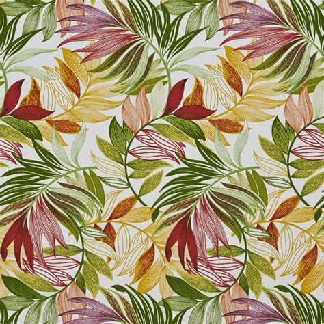 beach themed fabric upholstery burgundy amber and green tropical beach oasis leaf themed