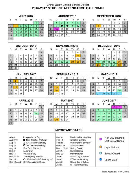 Calendar 2018 Important Dates 2016 2017 Important Dates Calendar Chino Valley