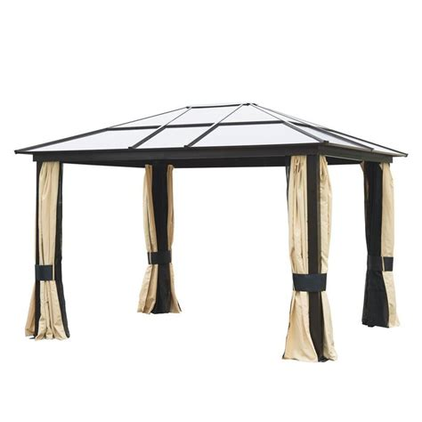 12x10 awning outsunny 12 x10 outdoor gazebo canopy w mesh curtains