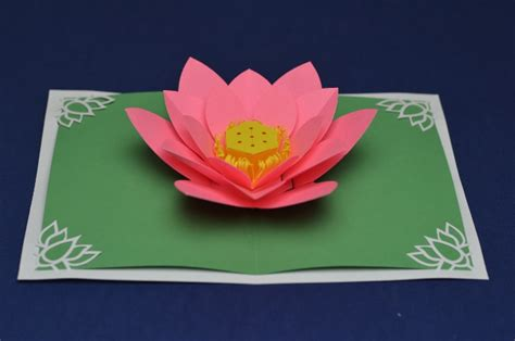 pop up flower card template lotus flower pop up card template