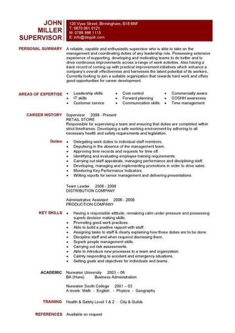 Resume Exles Supervisory Skills Free Sle Resume Templates Best Format Exles Objectives Basic Creative Builder Cv