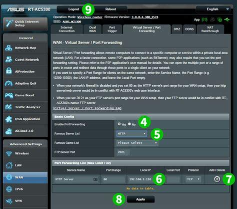 port forwarding enable port forwarding for the asus rt ac5300 web server