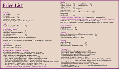 makeup price list template make up artists images frompo