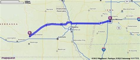 mapquest grand driving directions from des moines iowa to grand island