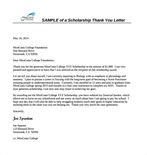 Scholarship Letter Words sle scholarship thank you letter 11 documents in pdf