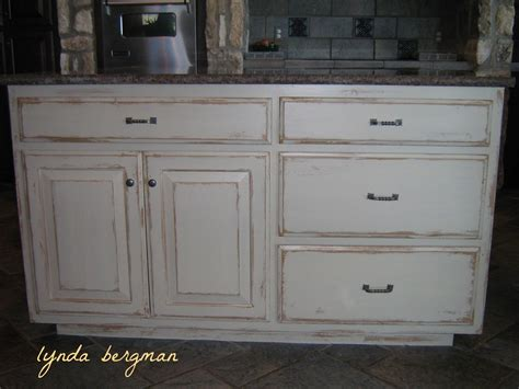 Distressed Kitchen Cabinet by Lynda Bergman Decorative Artisan White Kitchen Cabinets