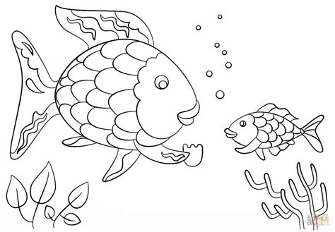 coloring page of small fish rainbow fish gives a precious scale to small fish coloring